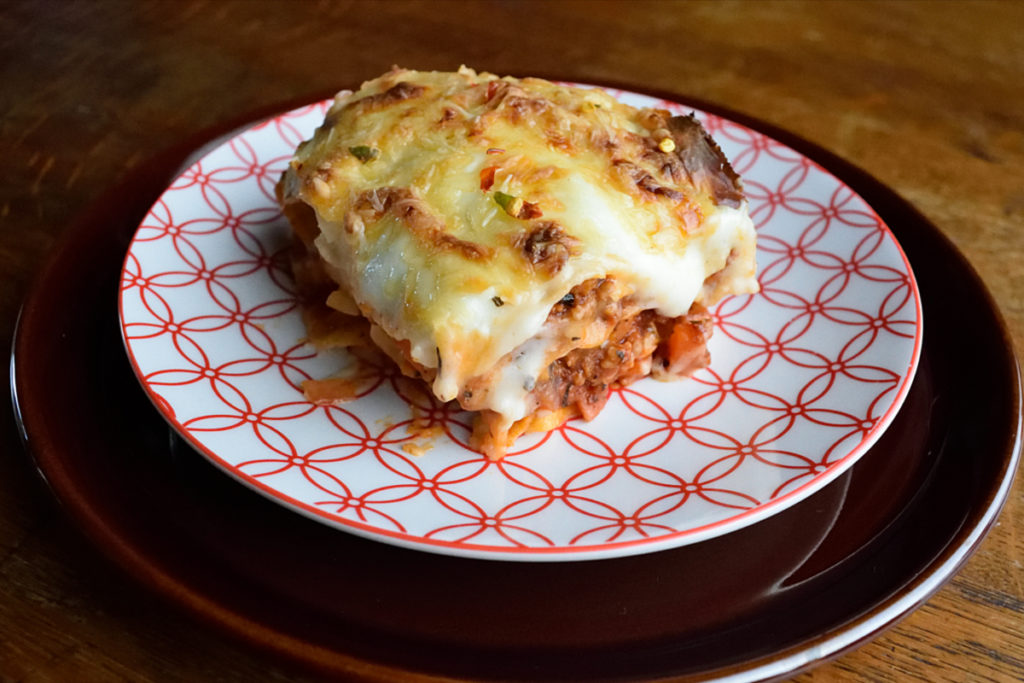 Lasagne with celeriac and carrots.
