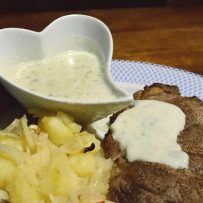 Steak with Gorgonzola sauce