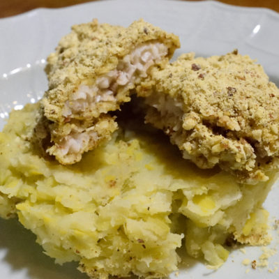 Almond crusted fish with leek mash