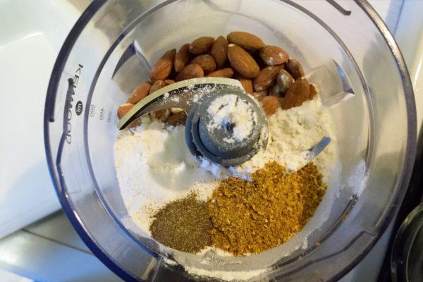Almond crusted fish with leek mash